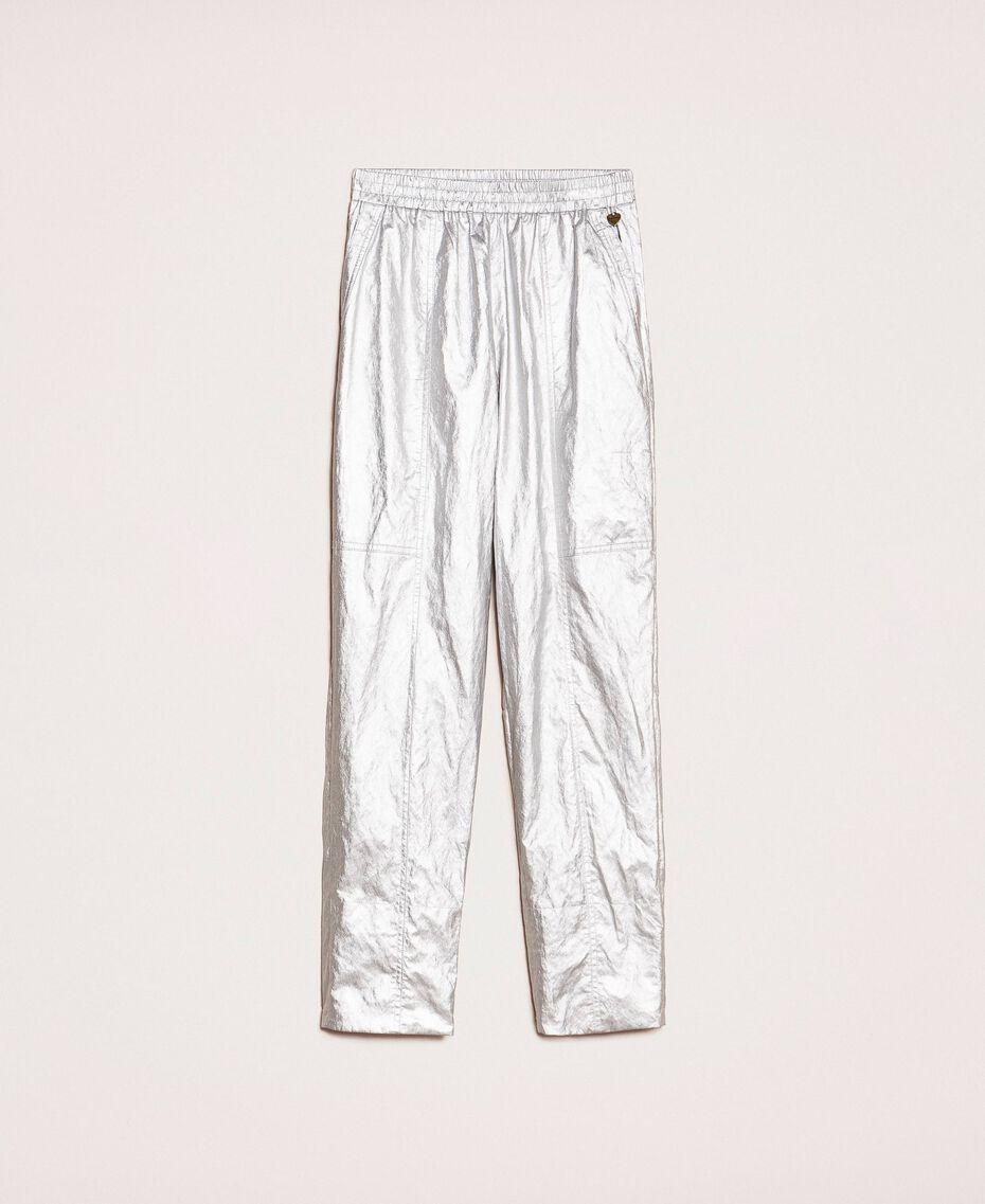 Ламинированные брюки на резинке Silver женщина 201TP2400-0S