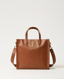 Twinset Bag leather shopper Leather Brown Woman 211TD8041-01