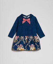 Denim effect plush dress with floral brocade Denim Effect / Brocade Child 192GB2631-01