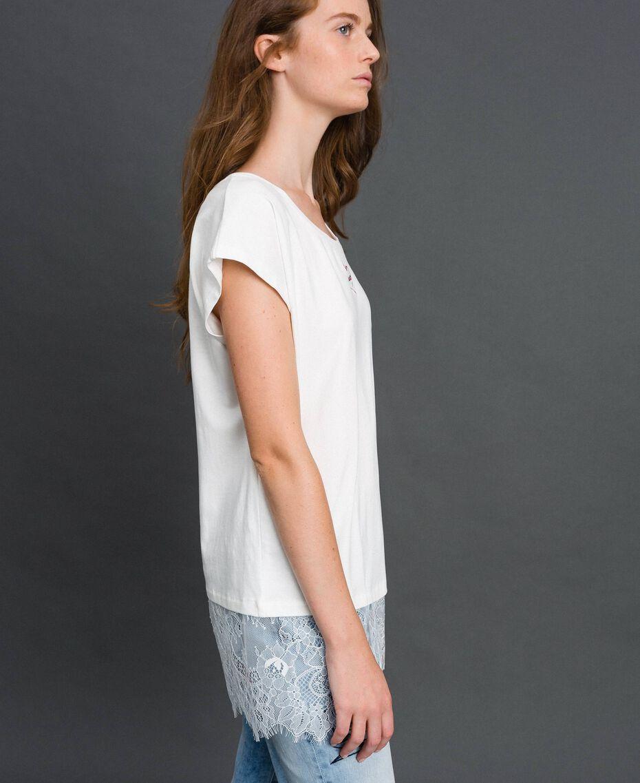 T-shirt con ricamo a cuore e pizzo al fondo Giglio Donna 192MP2431-02