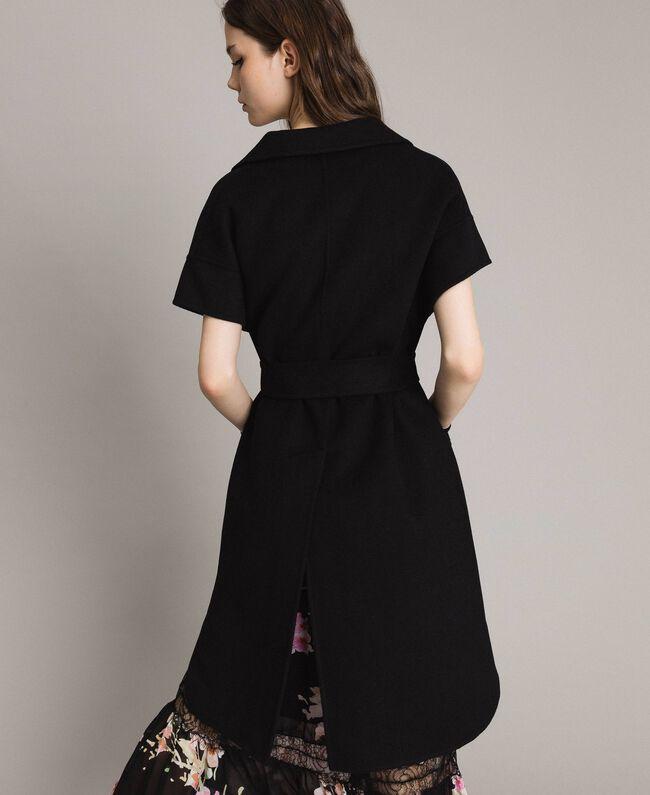 Double wool cloth waistcoat Black Woman 191TP2482-03