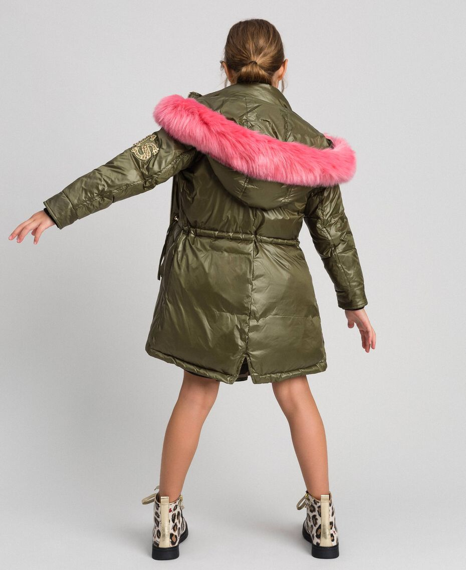Hooded puffer jacket with faux fur Alpine Green Child 192GJ2072-01