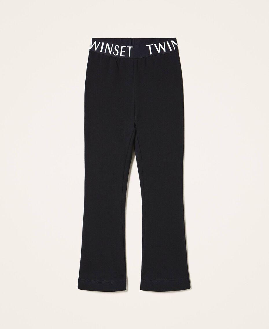 Расклешенные брюки из футера Черный Pебенок 202GJ2812-0S