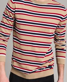 "Crêpe cotton striped jumper Multicolour Porcelain Beige / ""Dark Raspberry"" Red Man 191UT3033-04"