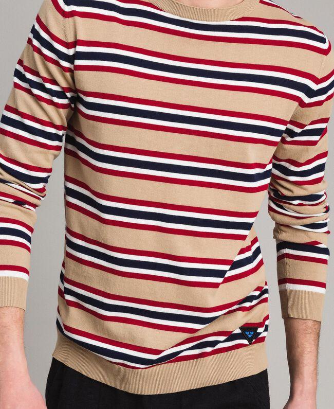 "Crêpe cotton striped jumper Multicolour Porcelain Beige / ""Dark Raspberry"" Red Man 191UT3033-04"