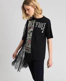 Асимметричная футболка с принтом и кружевом Черный женщина 192MP2434-02