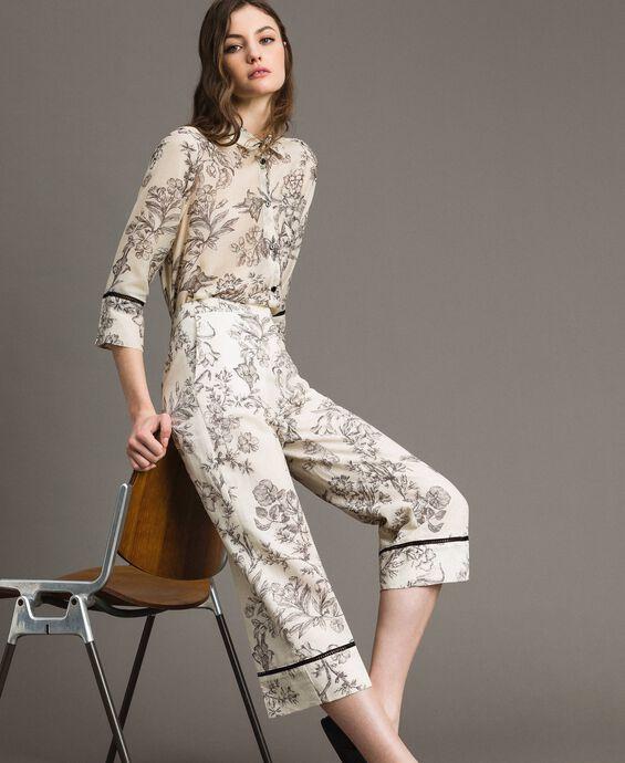 Pantalon en lin avec imprimé floral