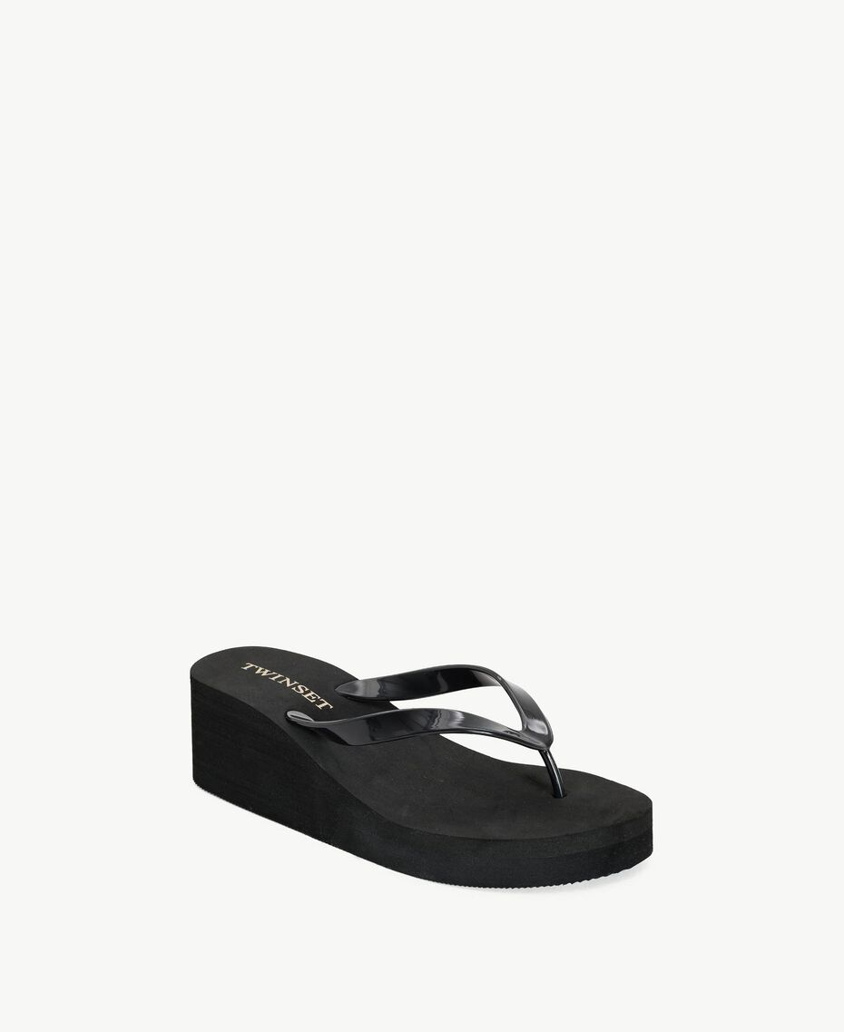Platform flip flop shoes Black Woman BS8ZAA-02