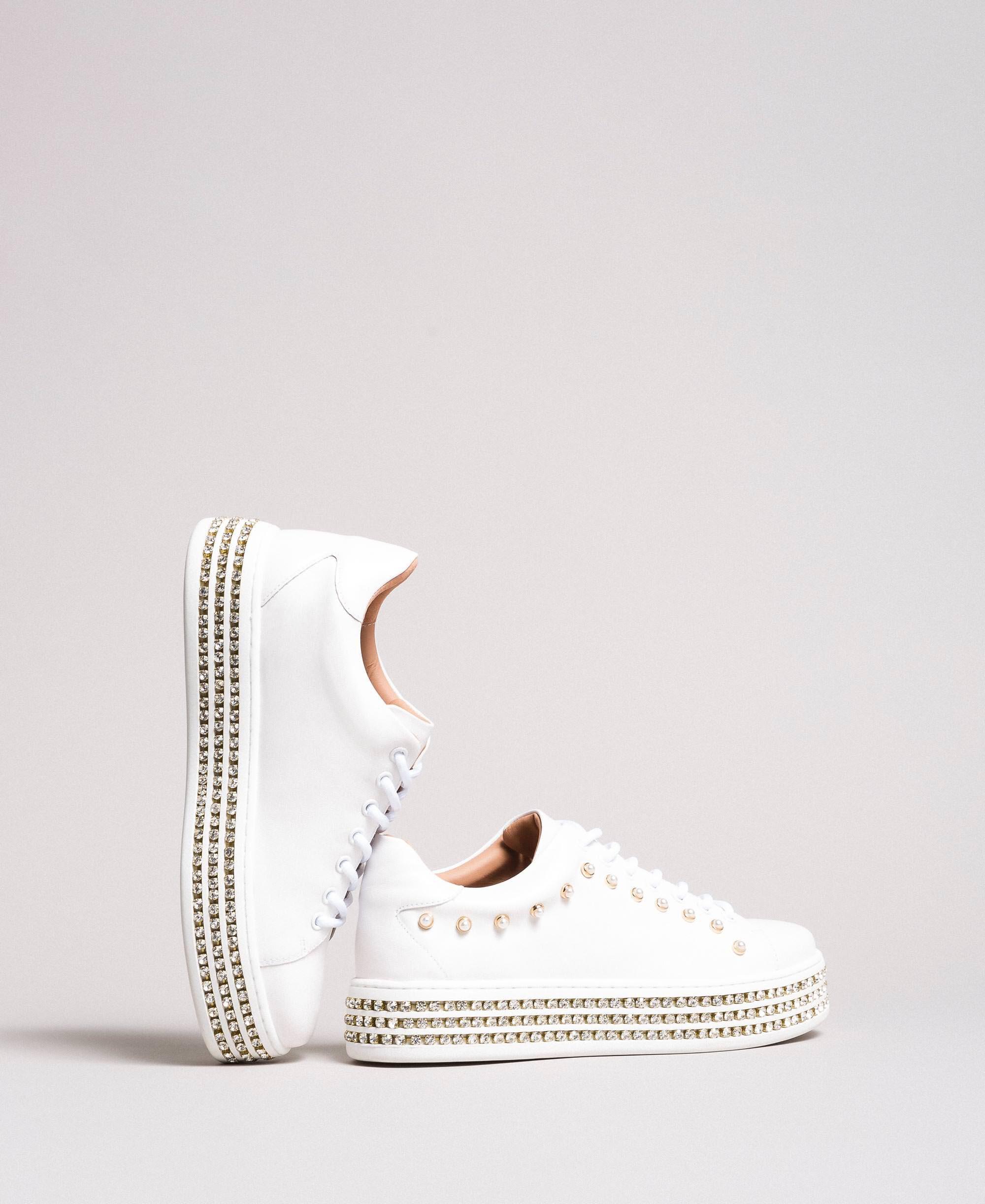 Leder Sneakers mit Strasssteinen und Perlen Frau, Weiß | TWINSET Milano