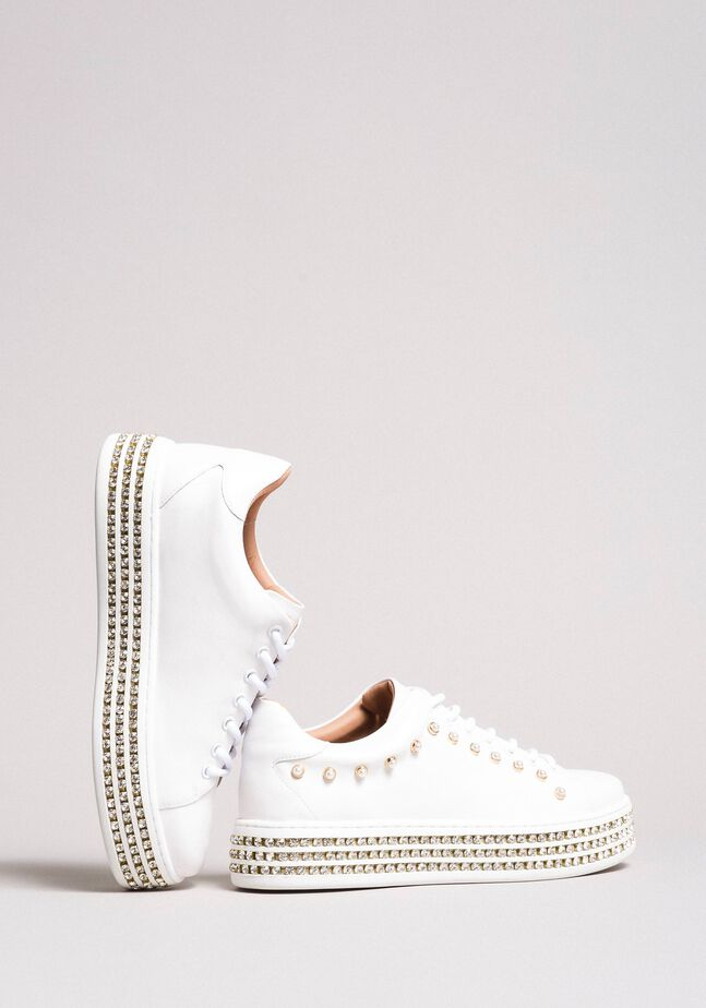 Leather sneakers with rhinestones and pearls