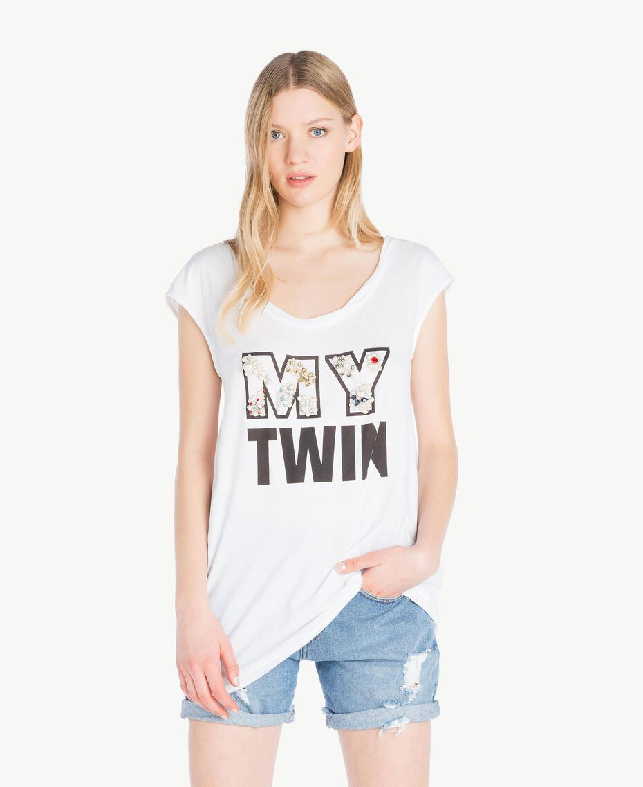 T-Shirt mit Stickerei Weiß Frau YS825M-01