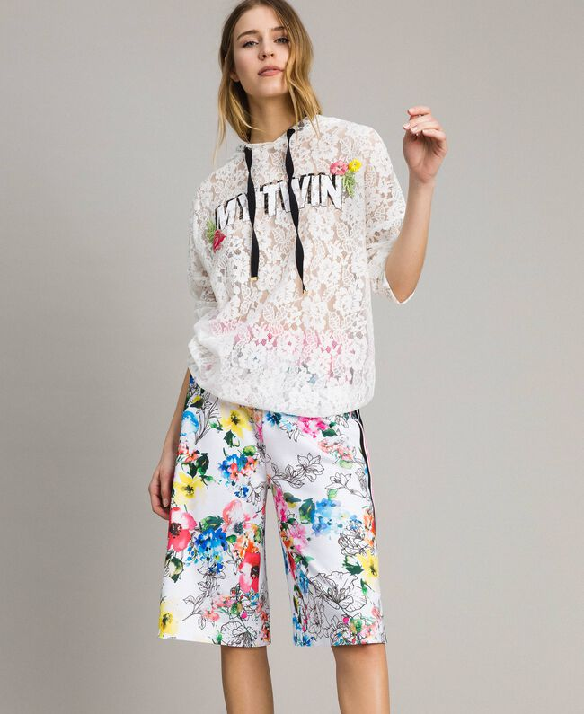 Printed fleece cropped trousers All Over Optical White Multicolour Flowers Print Woman 191MT2362-01