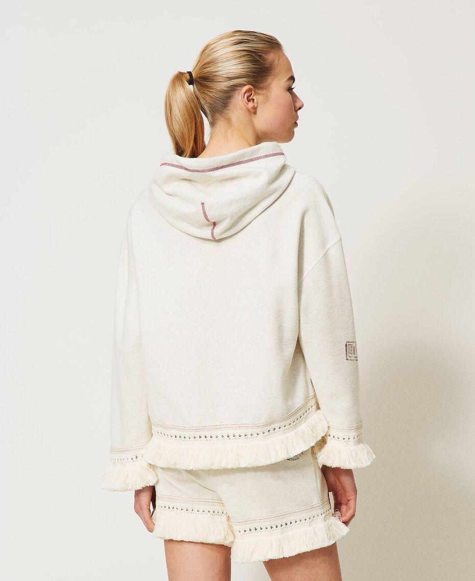 """Sweatshirt mit Logo und Fransen """"Butter Cream""""-Weiß Frau 211LL2VGG-03"""