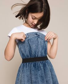 "Denim dress with gathering Two-tone ""Papers"" White / Medium Denim Child 201GJ2010-01"