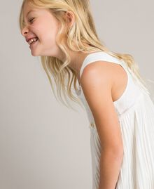 Pleated georgette and lace dress Off White Child 191GJ2QA2-0S