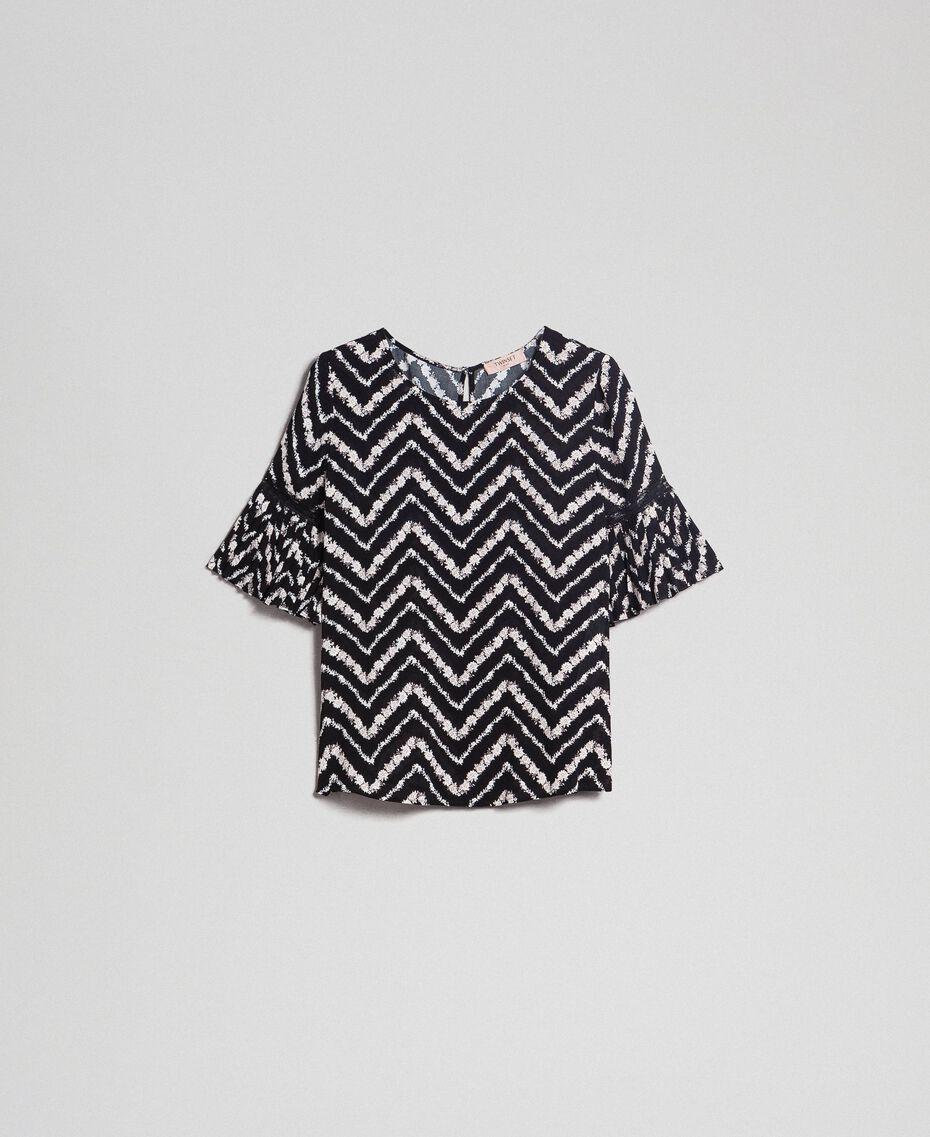 Blouse avec imprimé floral à chevrons Imprimé Chevrons Noir / Blanc Neige Femme 192TP252A-0S