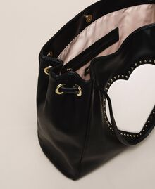 "Hobo bag with studs and heart Black / ""Vanilla"" White Woman 201MA7093-05"