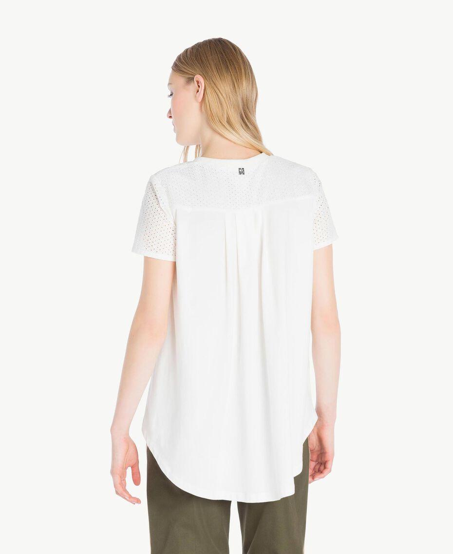 T-Shirt mit St. Galler Stickerei Weiß Frau YS82D1-03