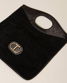 Folded leather clutch Black Woman 212TB7171-05