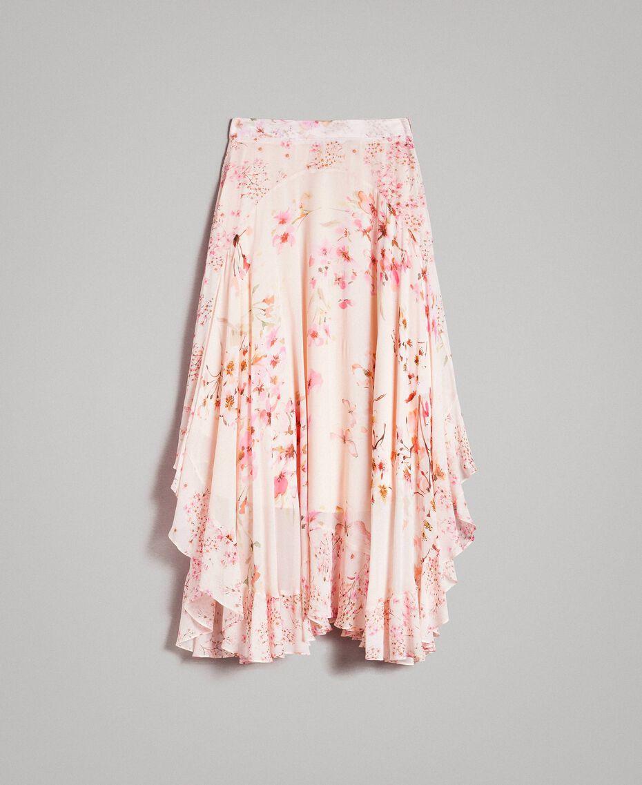 """Jupe longue en georgette à imprimé floral Imprimé Rose """"Bouton De Rose / Peach Mix"""" Femme 191TP2719-0S"""