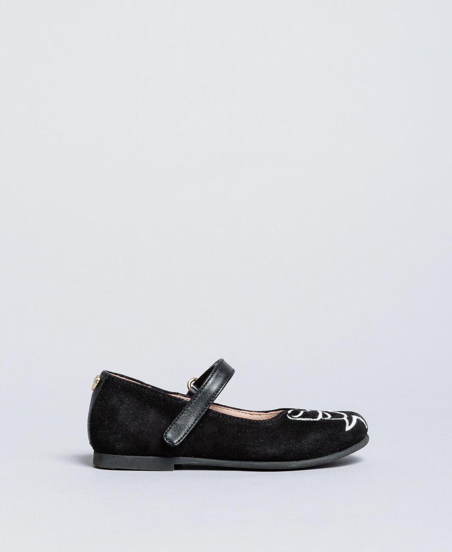 Замшевые туфли-балетки со стразами Черный Pебенок HA86AN-02