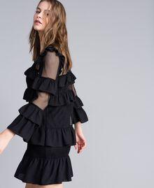 Kleid aus Netzstoff mit Volants Schwarz / Schwarz Frau JA82HP-04