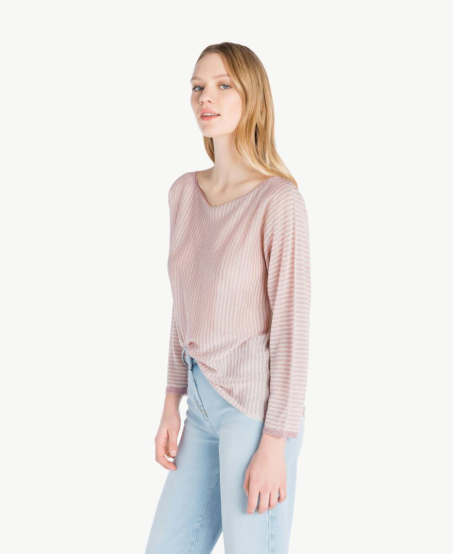 Pull rayures Rayure Rose « Hortensia » / Platine Femme PS83XP-02
