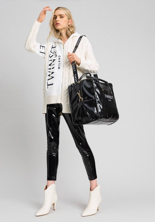 Faux patent leather weekend bag