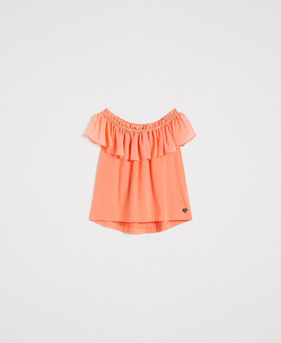 "Oberteil mit Chiffonvolant ""Tangerine Cream"" Pink Frau 191LB2KFF-0S"