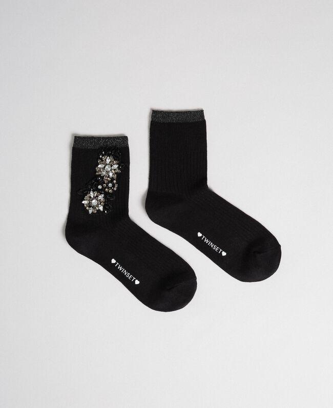 Chaussettes avec broderie de pierres Noir Femme 192TA4325-01