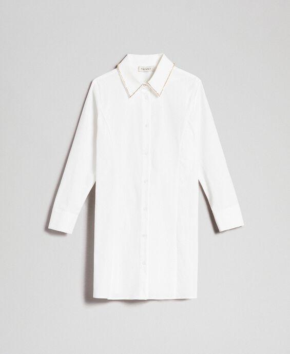 Maxi chemise en popeline avec strass