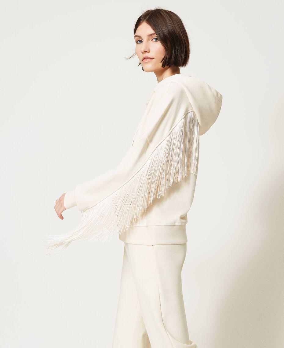Sweat avec fermeture éclair et franges Blanc Crème Femme 202TP265E-03