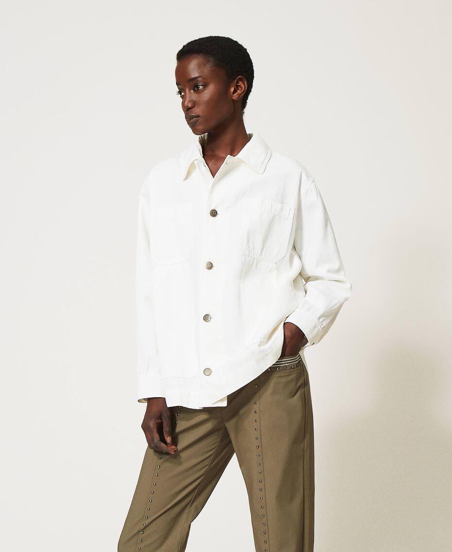 Blouson avec grandes poches Crème fouettée Femme 211TT2077-02