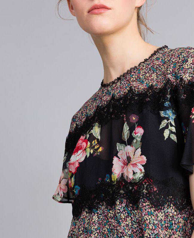 Blouse en crêpe georgette avec imprimé floral Imprimé Fleur Patch Femme PA82MH-04