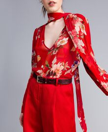 Floral print georgette blouse Red Garden Print Woman PA8274-04