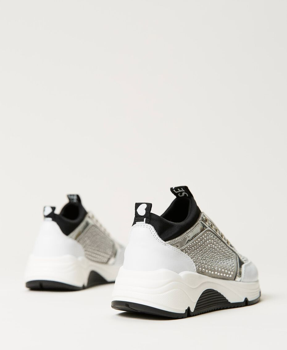 """Leather trainers with rhinestones Two-tone """"Off White"""" / Silver Child 211GCJ020-02"""