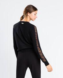 Viscose blend cardigan with lace Black Woman LA8QBB-03