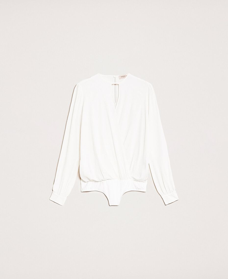 Body blouse body en soie mélangée Blanc Neige Femme 201TP2504-0S