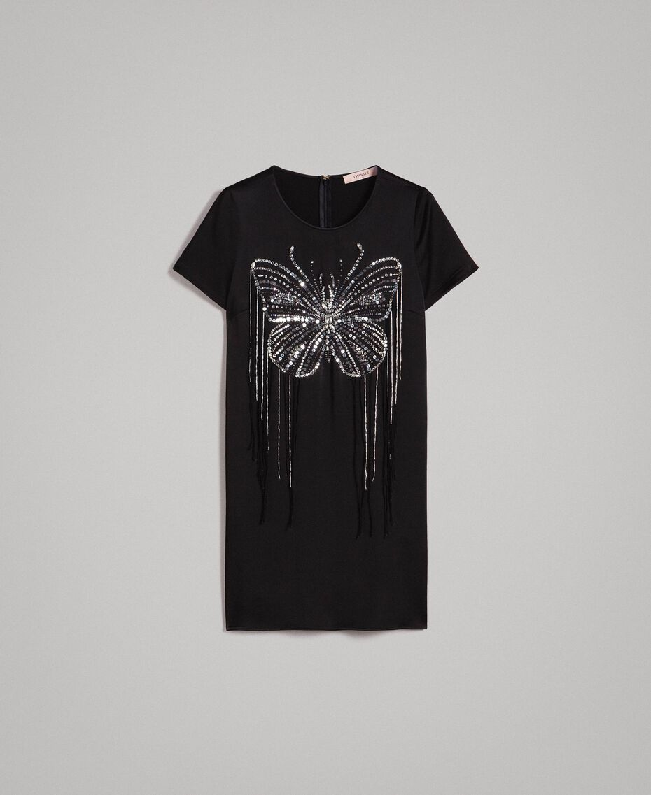 Butterfly embroidery and fringe tunic dress Black Woman 191TP269C-0S