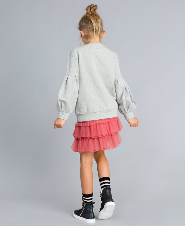 Flounced tulle skirt Dark Rose Child GA82JN-03