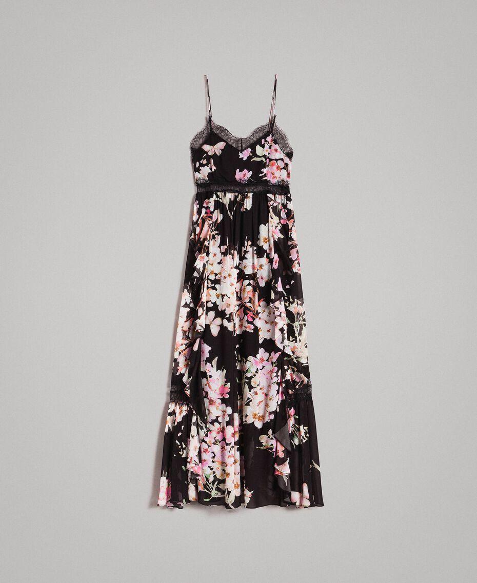 """Robe longue en georgette à imprimé floral Imprimé Noir Rose """"Fleur De Pêcher"""" Femme 191TP2717-0S"""