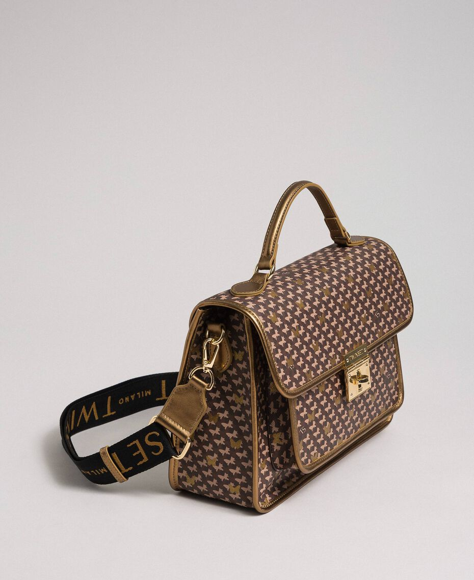 Printed faux leather shoulder bag Dark Gold Butterfly Print Woman 192TO801K-02