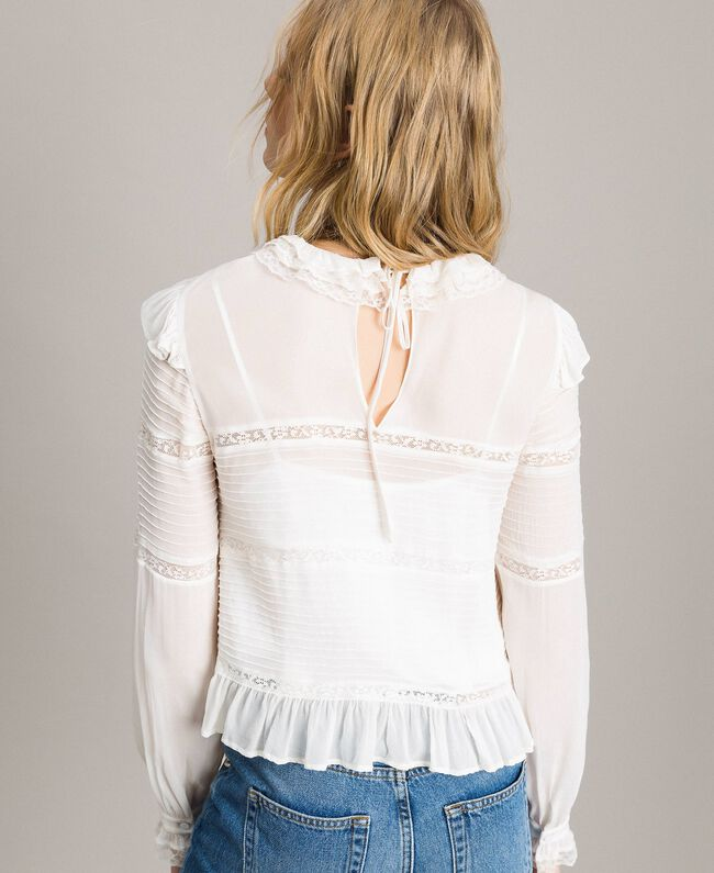 Georgette and lace blouse White Snow Woman 191TP2120-03