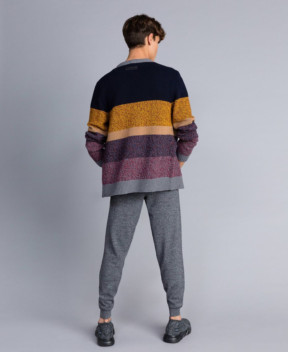 Color-Block-Cardigan aus Wollmischung Mehrfarbiger Mouliné Mann UA83GB-02