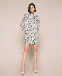 "Floral crêpe de Chine dress ""Quartz"" Pink Flowered Print Woman 201MP2374-01"