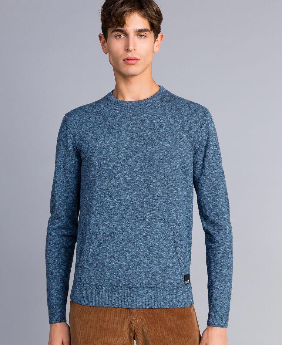 Maglia in cotone e lana Bicolor Grigio Antracite / Blu Denim Uomo UA83BB-01