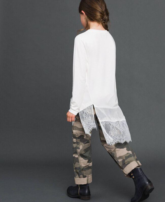 Maxi t-shirt avec détails en crêpe georgette et dentelle Chantilly Enfant 192GJ2468-04