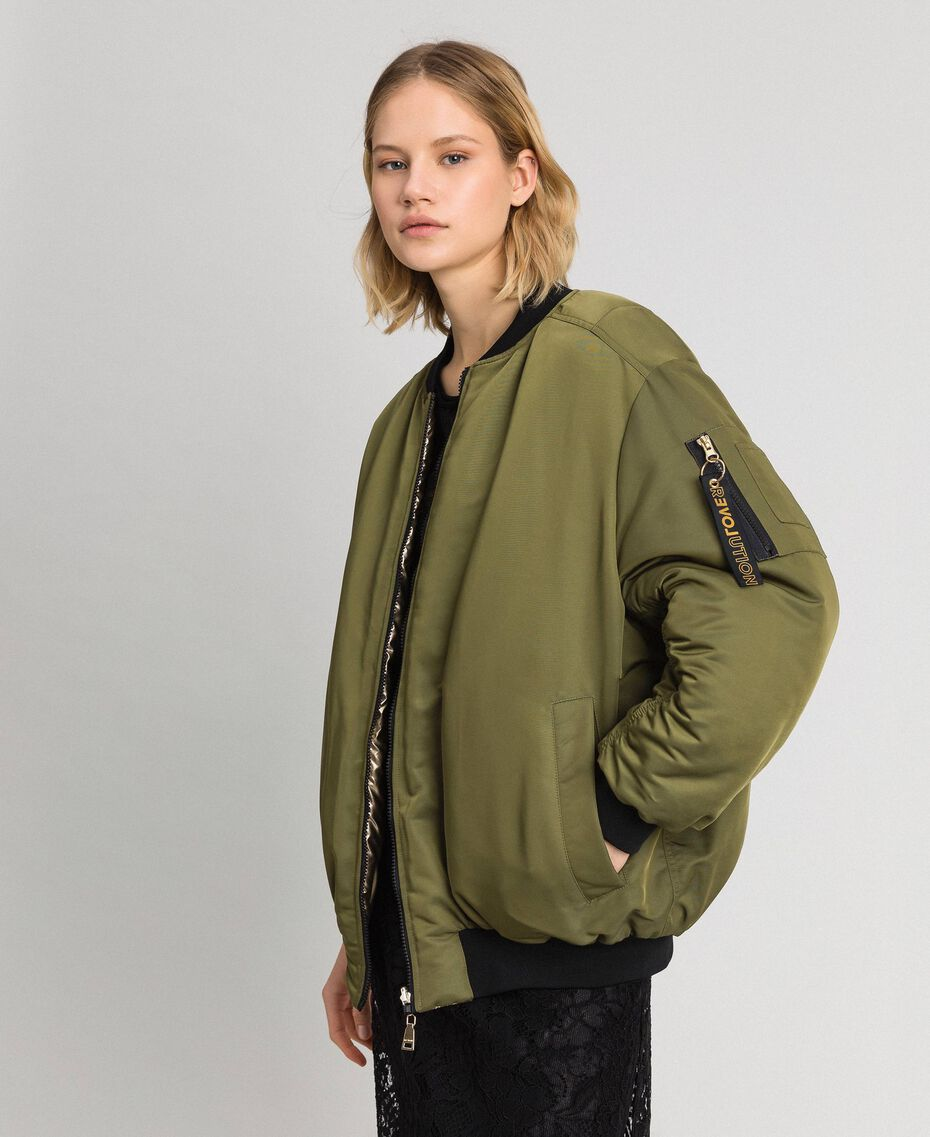 Reversible bomber jacket in technical satin Green Vetiver Woman 192MP2070-05