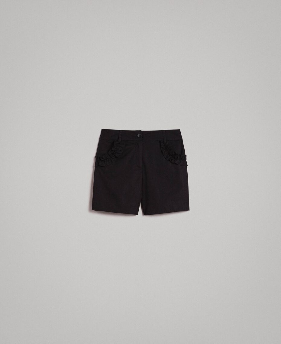 Poplin shorts with ruches Black Woman 191MT2053-0S