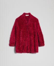 Maxi cardigan in filato effetto pelliccia Rosso Ruby Wine Bambina 192GJ3060-0S